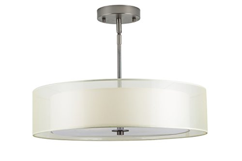 Modern Single Light Drum (Linea di Liara Grazia 20-Inch Three-Light Double Drum Convertible Ceiling Fixture, Modern Bronze with a Sandstone Fabric Shade)