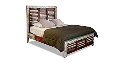 Crafters And Weavers Farmhouse Rustic Style Solid Wood King Size Bed With  Shuttered Headboard And Footboard