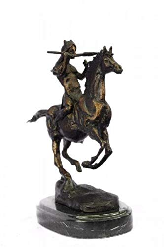- Sensational Frederic Remington Indian Warrior Chief on Horse Bronze Sculpture Western Statue