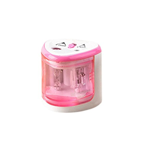 (Gbell Automatic Pencil Sharpener, Two-Hole,Home School Office Electric Pencil Sharpener for Boys,Girls,Blue,Pink,Silver (Pink))