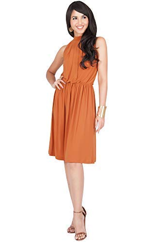 KOH KOH Womens Sleeveless Halter Neck Flowy Work Knee Length Day Sexy Midi Dress