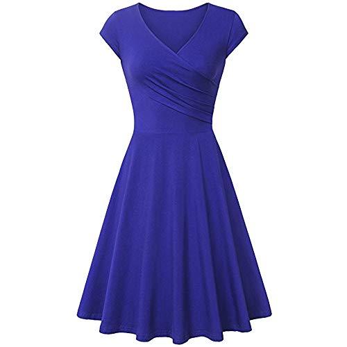 (Dresses for Women Chaofanjiancai Summer Cross V- Neck Cap Sleeve Dress Vintage Elegant Flared A-Line Dress (S, Blue02))