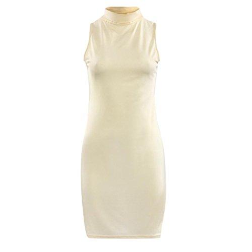 Damen Rollkragen Bluse Minikleid, ZIYOU Frauen Sommer Ärmelloses Abend Party Kleider Elegant Blusenkleid Tops Einfarbig Beige