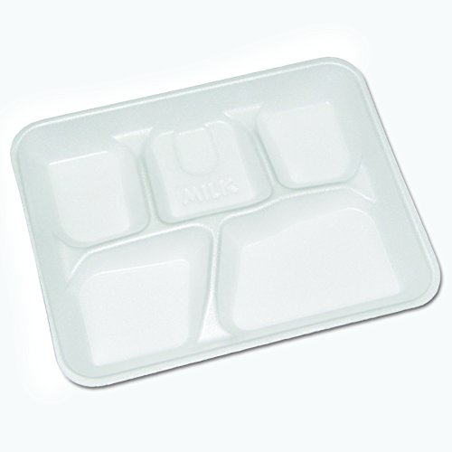 Pactiv Foam - Pactiv YTH10500SGBX Lightweight Foam School Trays, White, 5-Compartment, 8 1/4 x 10 1/2 (Case of 500)