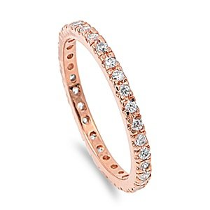 925 Rose Gold Plated Sterling Silver Ring - Rose Gold Eternity Ring for Women - Sterling Silver