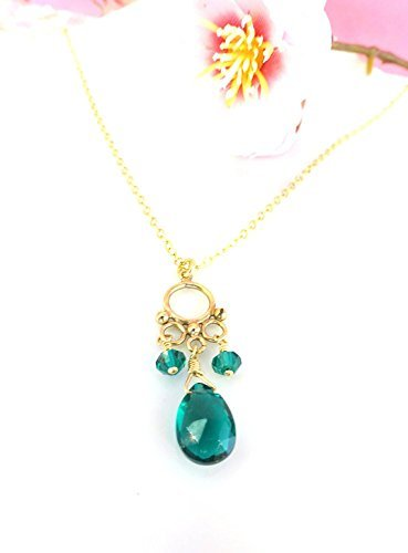 Emerald Circle Pendant - Teal green quartz gold filled circle pendant necklace, peacock teal green genuine gemstone necklace, wire wrapped gold filled emerald green quartz necklace