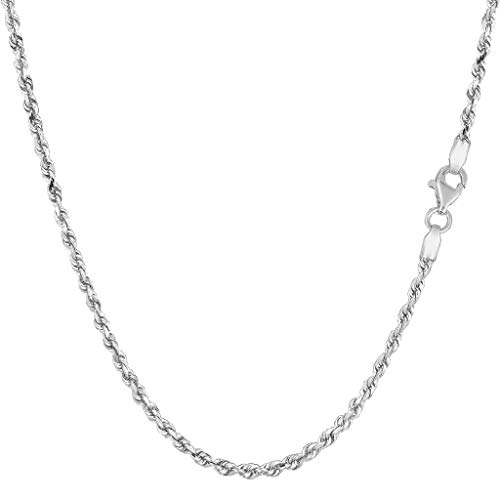 14K Yellow or White Gold 2.00mm Shiny Diamond-Cut Royal Rope Chain Necklace for Pendants and Charms with Lobster-Claw Clasp (7