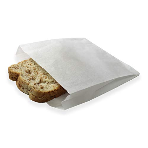 100 Pack Plain 7-3/4 x 6-1/2 x 1-1/2 Dry Wax Paper Sandwich Bags, Food Grade Water Grease Resistant, White Glassine Semi Translucent by Mighty - Wax Sandwich