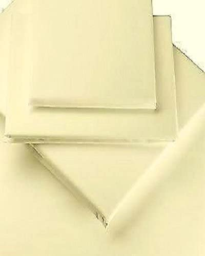 V/&A Luxury Percale Plain Dye Ivory Super King Fitted Sheet 180x200x28cm