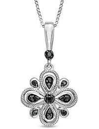 "1/10cttw Enhanced Black Diamond dangling Clover Shaped Flower Pendant Sterling Silver 18"""