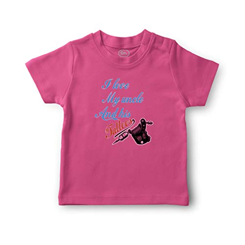 I Love My Uncle and His Tattoos Short Sleeve Crewneck Toddler Boys-Girls Cotton T-Shirt Jersey - Hot Pink, -