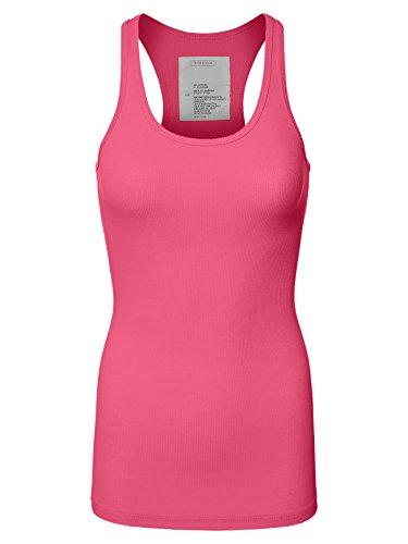 - Basic Simple Rockaway 2x1 Rib Casual Tank T Shirts,081-neon Pink,S