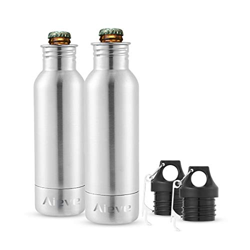 Bottle Insulator,Beer Bottle Cooler,2 Pack 12 oz Stainless Steel Beer Bottle Holder and Insulator Beer Bottle Insulator with Bottle Opener by AIEVE