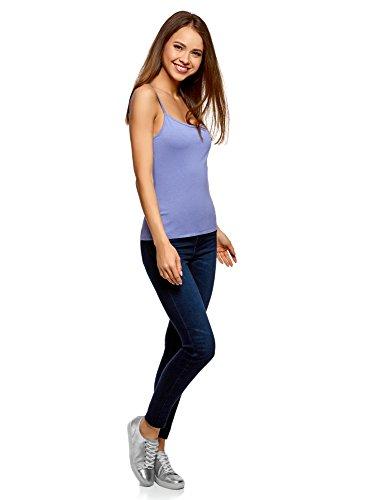 7500n Donna Bretelle oodji Senza Etichetta Sottili Ultra Maglia Top Blu a in HCPwq5C