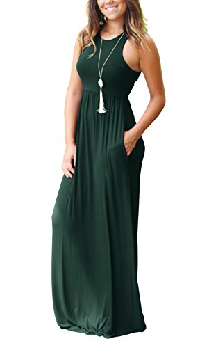 GRECERELLE Women Sleeveless Long Maxi Fall Casual Dresses Dark Green-XL