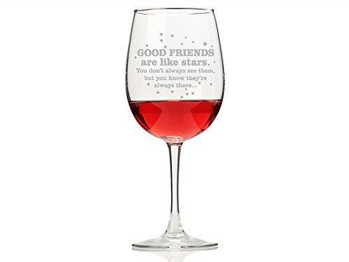 """Chloe and Madison""""Good Friends Are Like Stars"""" Wine Glasses, Set of 4 For Sale"""