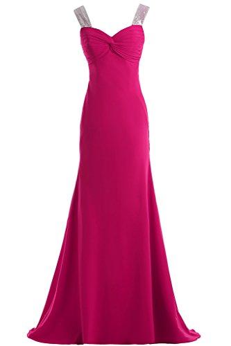 Toscana novia señoras dos-Traeger gasa por la noche vestido de fiesta largo vestidos de bola de ropa fucsia 50