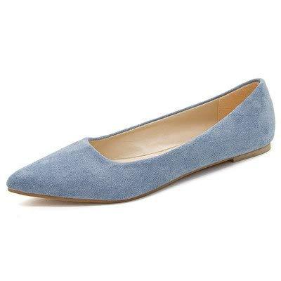 24236e88b68 Amazon.com: HuWang Faux Suede Leather Shoes Women Flats Slip-On ...