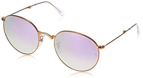 Ray-Ban Metal Man Sunglasses - Shiny Bronze Frame Lilac Flash Gradient Lenses 53mm - Round Metal Raybans