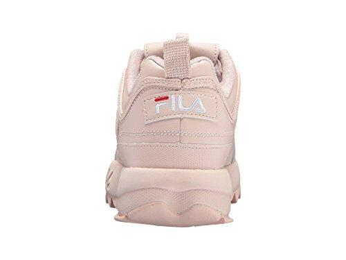 Fila Women's Disruptor II Premium Sneakers, Peach Blush/White/Fila Red, 7 Medium US