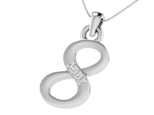 Or Blanc 18 ct Pendentifs Diamant en forme de 8 Numéro, 0.02 Ct Diamant, GH-SI, 0.42 grammes.