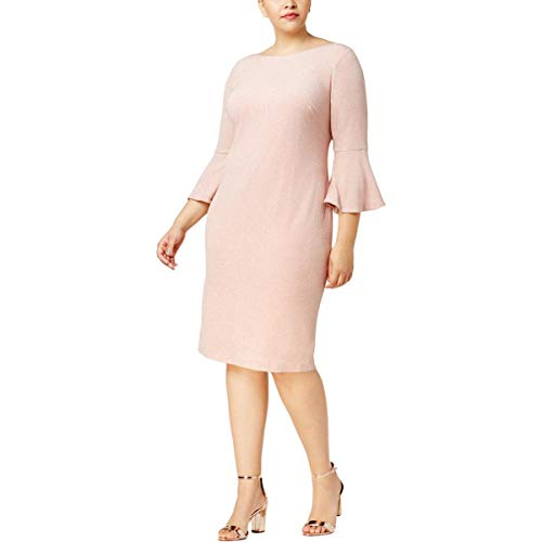Shimmer Calvin Klein (Calvin Klein Womens Plus Bell Sleeve Shimmer Party Dress Pink 18W)