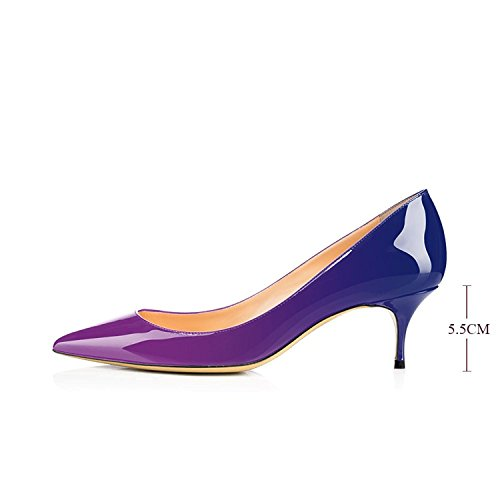 Slip Shoes 2 Toe inches Pointed Purple Office Patent On Heels Dress Leather Blue Stiletto Kitten Pumps 2 Shoes 1 Pumps Maguidern xq5wp181