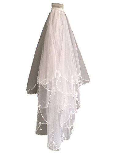 Skyfitting Women's 2 Tiers Beaded Edge Bridal Veil with Comb, Wedding Veil One Size White