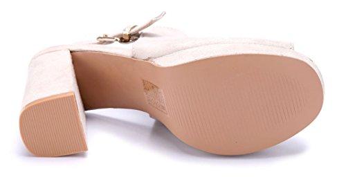 Schuhtempel24 Damen Schuhe Plateausandaletten Sandalen Sandaletten Blockabsatz 10 cm High Heels Beige