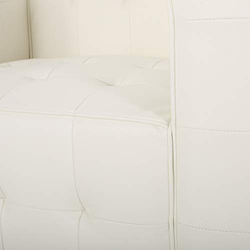 Laura Modern Glam Leather Cube Club Chair, White and Chrome - 8