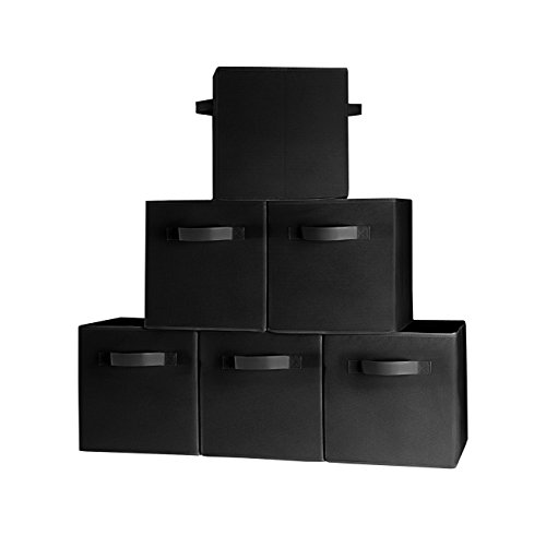 (6-Pack, Black) TOP QUALITY Durable Cloth Storage Cubes with two Handles, for Shelves Baskets Bins Containers Home Decorative Closet Organizer Household Fabric Cloth Collapsible Box Toys Storages