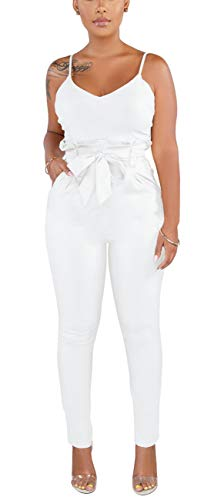 HannahZone Womens Sexy Spaghetti Strap Slim One Piece Jumpsuits Long Pants Sleeveless Rompers Ladies Outfits. White
