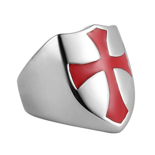 (HZMAN Mens Knights Templar Red Cross Ring Stainless Steel Shield Band,Silver Gold Black, Size 7-14 (Silver, 12))