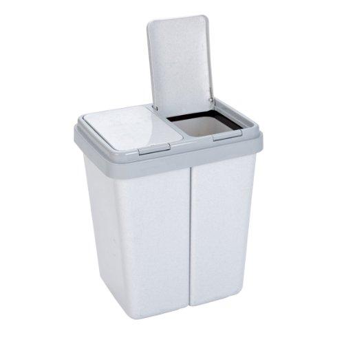 Axentia Zweimer, Müllbehälter mit 2 mal 30 Liter, Abfalleimer grau / granit, Abfallsammler für Küche, Bad, oder Kinderzimmer Abfalltrenner mit Tippdeckel, 43 (Breite) x 32 (Tiefe) x 51 (Höhe) cm, ideal füt Mülltrennung