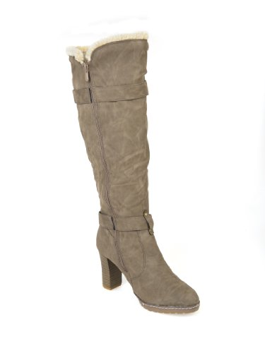 LADIES WOMENS KNEE HIGH FUR LINED HARD GRIP SOLE HIGH HEEL WINTER BOOT 3-8 Khaki jPWqg