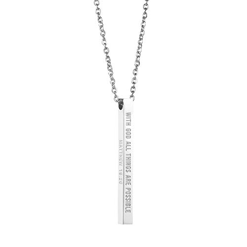 - Joycuff Christian Gifts for Women Vertical Bar Necklace Stainless Steel Jewelry Christmas (with God All Things are Possible-Silver)