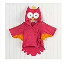 Hooded Animal modeling Cartoon Baby Towel Bathrobe (Rose Red Owl)