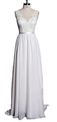 Snowskite Women's Sexy Backless V-neck Chiffon Beach Wedding Dress