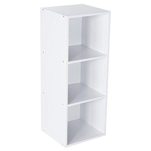 Bookcase Media Cubbies - StorageWorks Wooden 3-tier Storage Organizer Shelf, 3 Compartment Storage Unit Cabinet Bookcase White