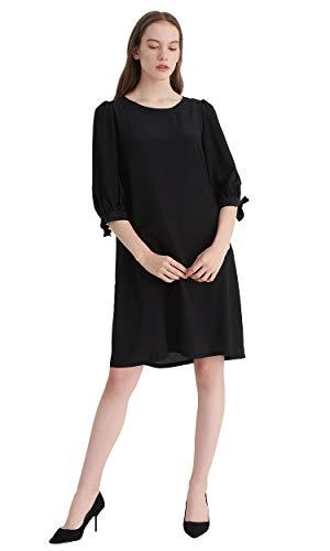 Seide Seidenkleider Sonderangebot Halbarm Schlichte schwarz Kleider Cocktailkleider LilySilk Partykleider Tqw1UtCddx