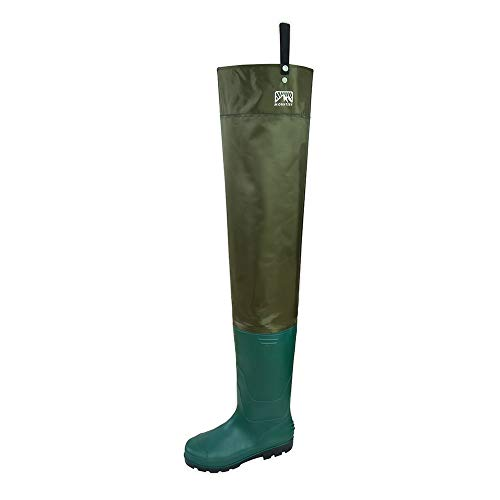 Obcursco Mounteen Bootfoot Hip Wader, Lightweight Bootfoot for Fishing and Hunting, Waterproof Durable Nylon PVC Blended Thigh Waders for Men and Women (7)