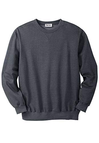 KingSize Men's Big & Tall Fleece Crewneck Sweatshirt, Heather Charcoal ()