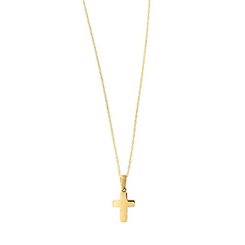14k Gold Block - Beauniq 14k Yellow Gold Small Block Cross Pendant Necklace, 15