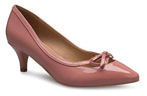 OLIVIA K Women¡¯s Classic Closed Toe D'Orsay Bow Kitten Heel Pump | Dress, Work, Party Mid Heeled Pumps