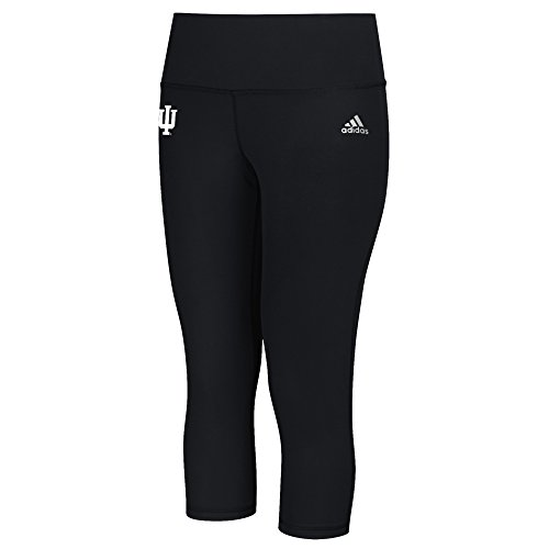 adidas NCAA Indiana Hoosiers Logo Performer Climalite Mid Rise 3/4 Tight Pants, X-Large, Black