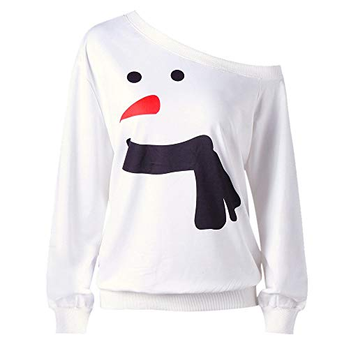 Chunky Newborn Cocoon - GOVOW Christmas Plus Size Clothing for Women Snowman Print Long Sleeve Sweatshirt Tops Blouse Shirt