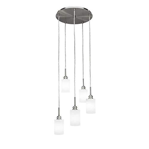 Toltec Lighting 1175-BN-4061 Edge - Five Light Mini Pendant, Brushed Nickel Finish with White Matrix Glass ()