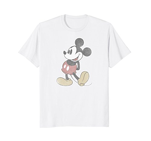 Mens Disney Mickey Mouse Distressed Classic T-Shirt XL White (Distressed Classic White T-shirt)