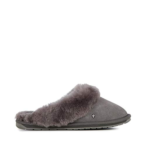 Womens Charcoal Grey Lambswool - EMU Australia Women's Jolie Slip-On,Charcoal/Anthracite,7 M US