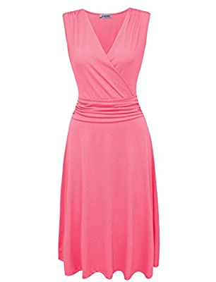 Tom's Ware Women Stylish Pleated Waist V-Neck Sleeveless Skater Dress